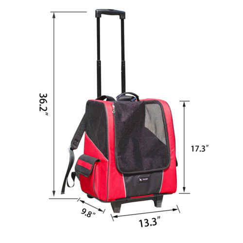 Dog Stroller Carrier Pet Travelling Suitcase Pet Knapsack Shopping Trolley Four-wheeled Breathable Carry Cart Draw-bar Box
