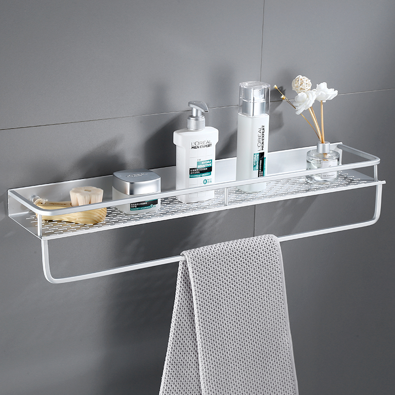 Space Aluminum Bathroom Towel Shelf Shower Shampoo Soap Cosmetic Shelves Kitchen Condiment Storage Rack Bathroom Accessories