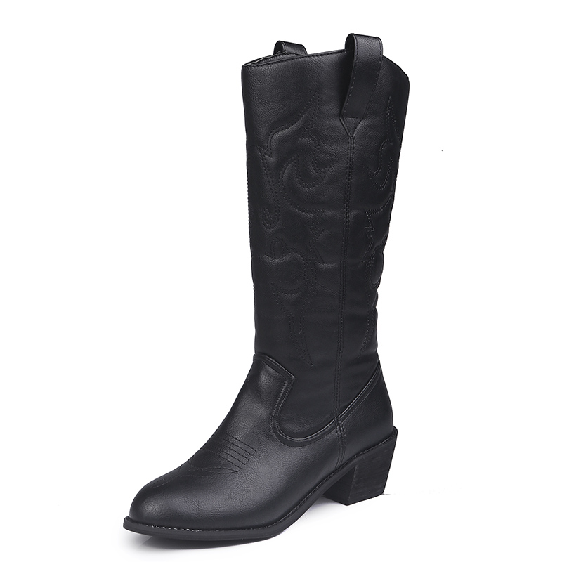 Image 5 - Lucyever 2019 Autumn Winter Vintage PU Leather Cowboy Boots for Women Fur Inside Slip on Riding Mid Calf Booties Plus SizeMid-Calf Boots   -