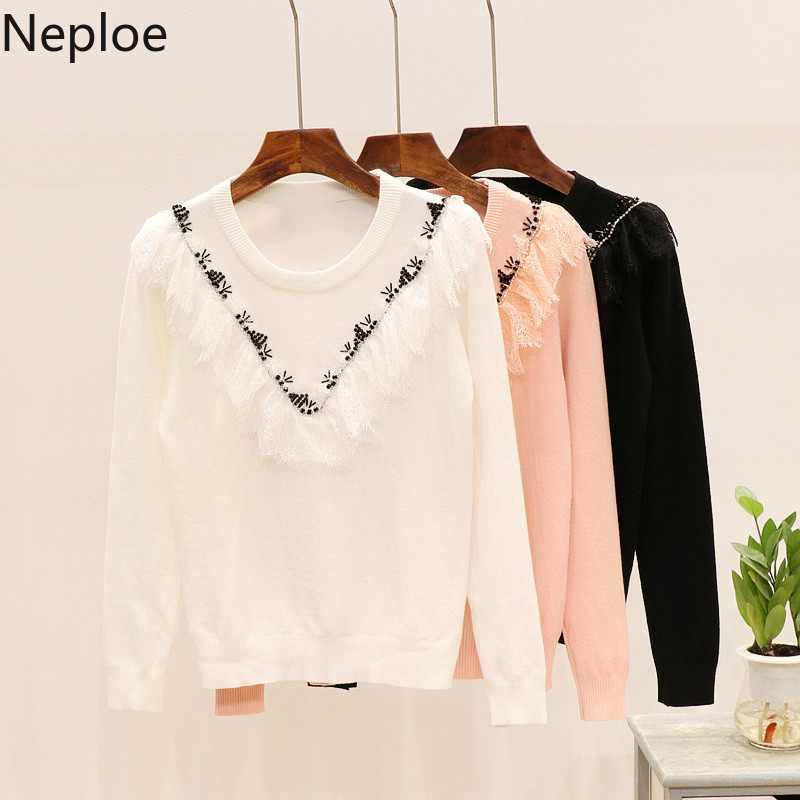 Neploe Knitted Pullover Women Clothes New Sweater O-Neck Long-Sleeve Winter Lace 54238
