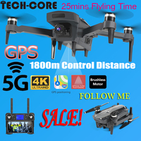 TECH CORE 2020 5G drone K20 brushless motor equipped with GPS and 4K HD dual camera quadcopter 1800M r/c distance Follow Me