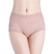 3 pçs/lote natural de seda cintura alta rendas briefs grande plus size roupa interior mulher transparente sem costura calcinha bragas mujer