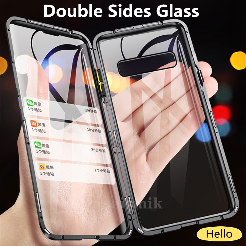 Double-sided Magnetic Full Protect <font><b>Case</b></font> For <font><b>Samsung</b></font> Galaxy S8 S9 S9Plus S10 S20 S20Plus <font><b>Note9</b></font> Note10 Tempered Glass Back Cover image