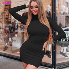 купить 2019 autumn and winter new European and American fashion high collar long-sleeved bag hip sexy solid color dress по цене 957.43 рублей