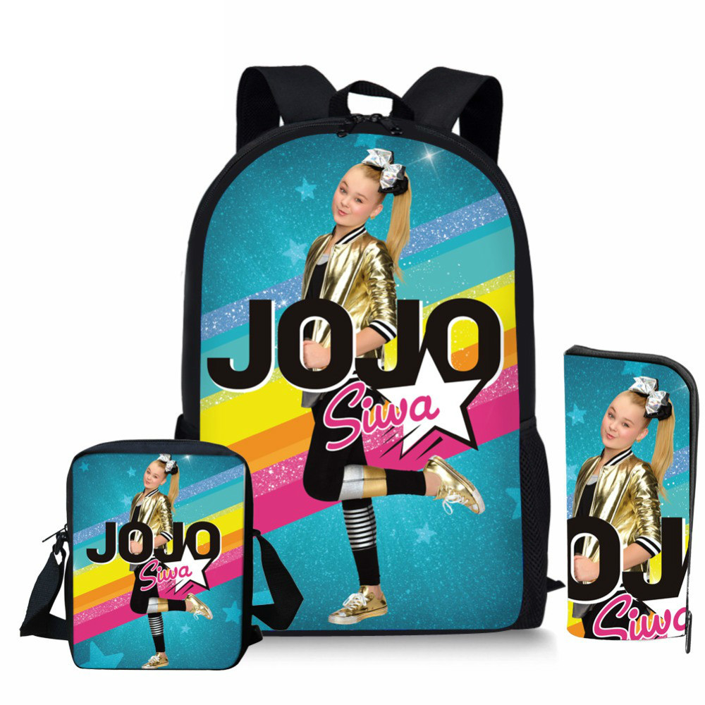 ThiKin 3pcs/set School Bag Set Superstar JOJO Siwa Girl Backpack Custom Schoolbags For Teenage Boys Students Bag Back
