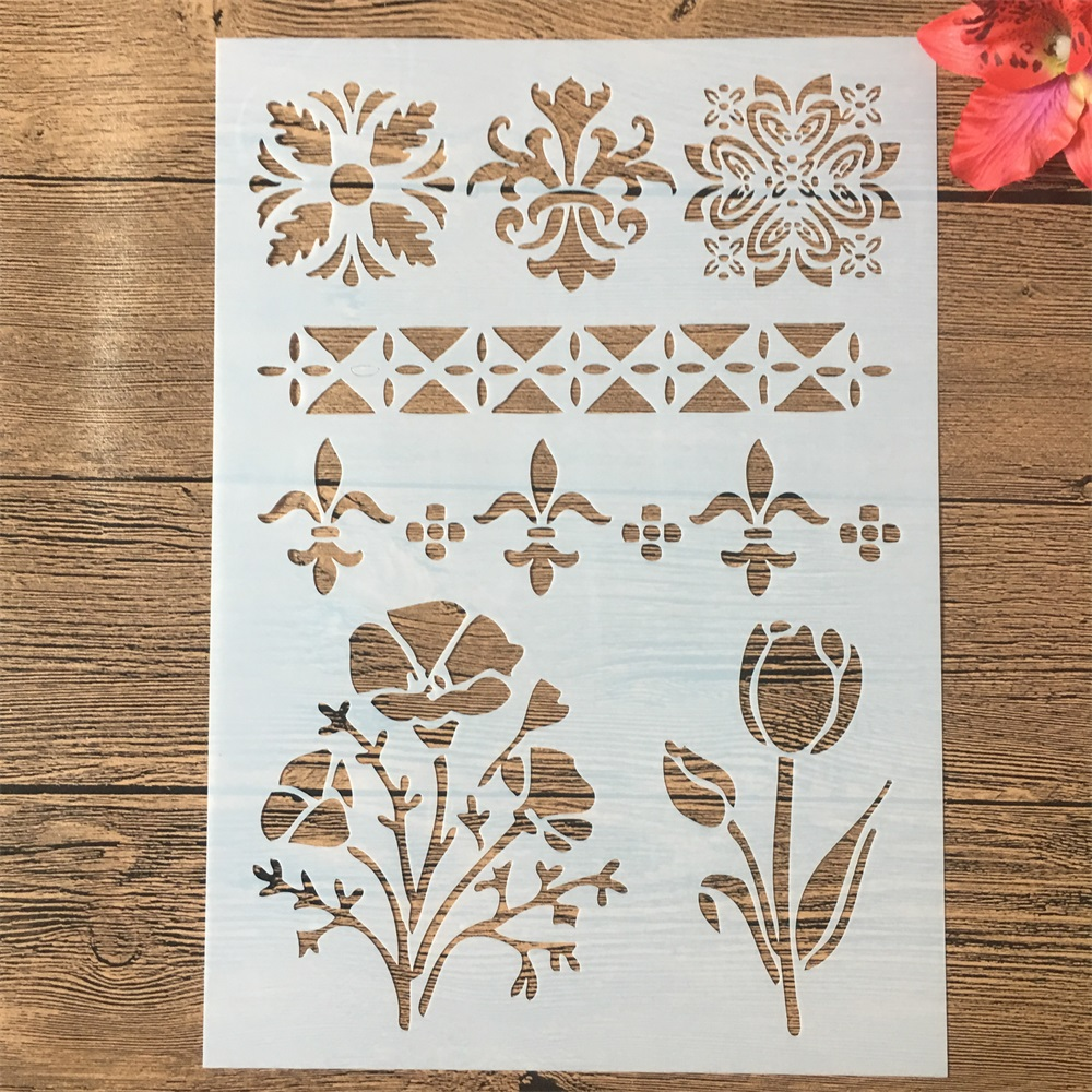 A4 29cm Flower Line Edge DIY Layering Stencils Painting Scrapbook Coloring Embossing Album Decorative Paper Card Template