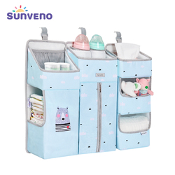 SUNVENO Portable Baby Crib Organizer Bed Hanging Bag for Baby Essentials Diaper Storage Cradle Bag Bedding Set Diaper Caddy