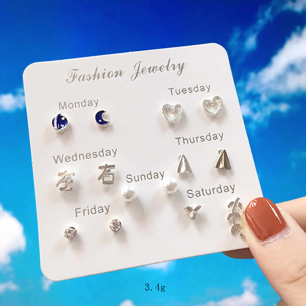 Fashion Daily Change Earrings Small Whale Moon Triangle Flower Branches Stars Pearl Maple Leaf Notes A Week Set Of Card Earrings