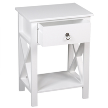 2 Pieces, Two-Layer Bedside Nightstand Table with Drawers, Side Table, Coffee Table, Side Cross Style, White