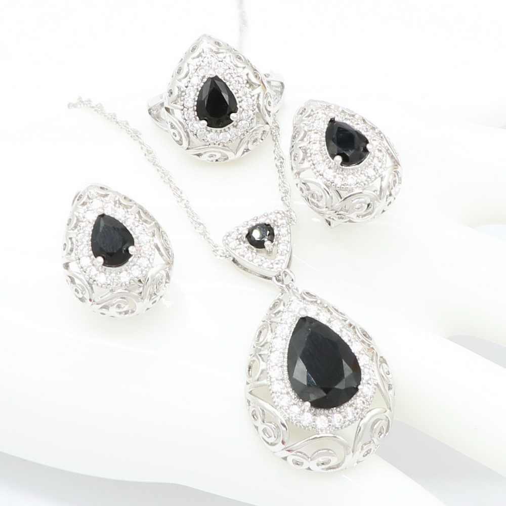 Schwarz Zirkon Braut 925 Sterling Silber Trendy Anhänger Halskette Ohrring Armband und Ring Schmuck Sets für Frauen Mode Geschenk