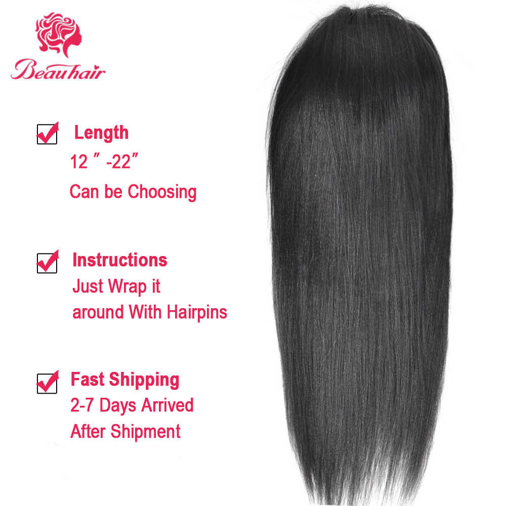 Cola de Caballo recta 100% de cabello humano con cordón de cola de caballo con Clips en cabello Natural cabello brasileño no Remy extensiones de 1 pieza