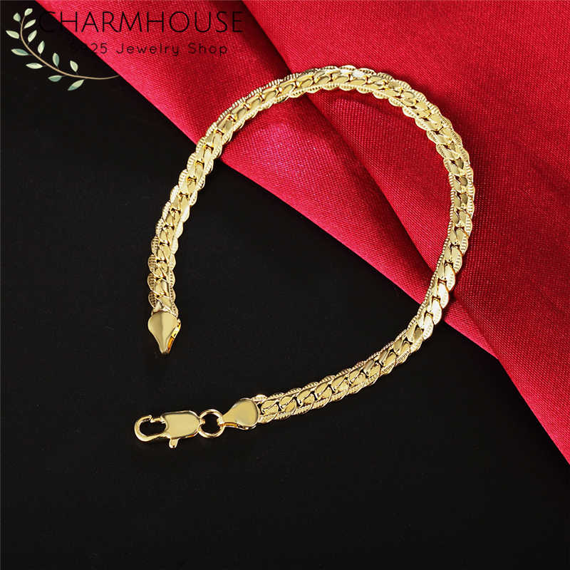 Charmhouse Bracelets For Women Yellow Gold GP 5MM Snake Chain Bracelet & Bangles Pulseira Wristband Wedding Bridal Jewelry