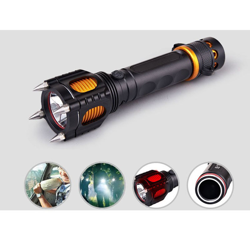 Self-defense Multifunctional Anti-rape Self-defense Tactical Flashlight LED Rechargeable Outdoors Security Equipment