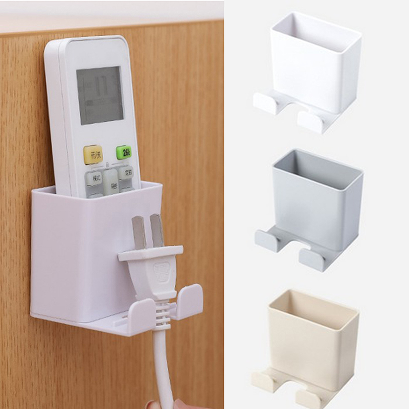 1pcs Wall Mounted Organizer Storage Box Remote Control Mounted Mobile Phone Plug Wall Holder Charging Multifunction Holder Stand