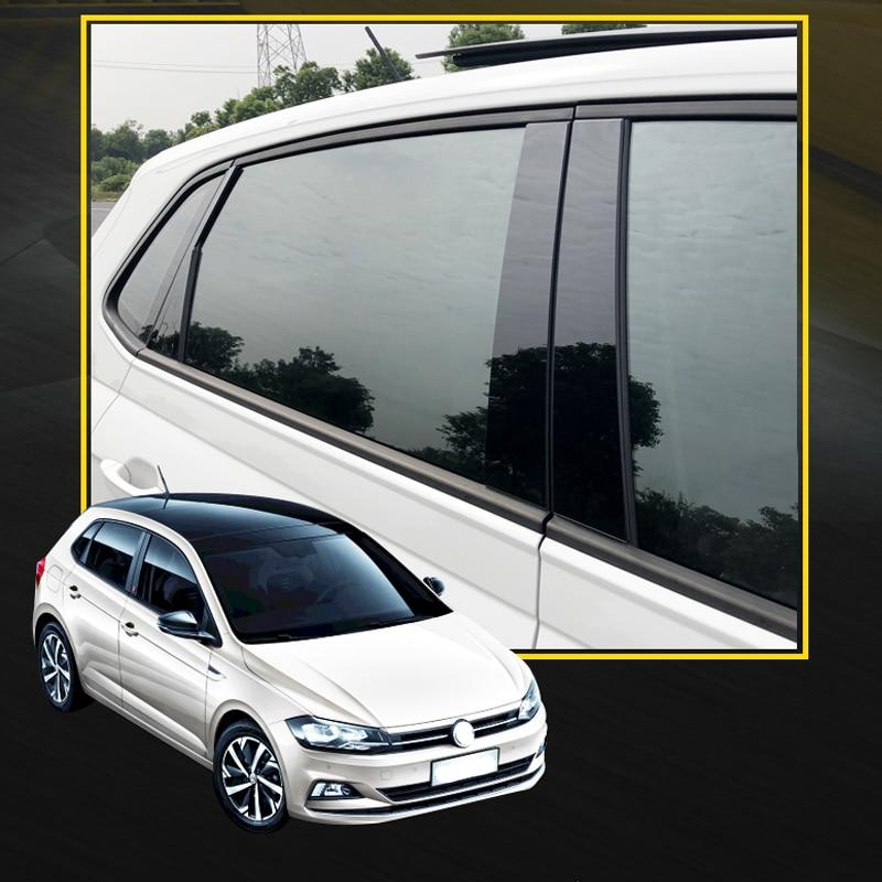 Оконная наклейка на стойку, отделка для 2019 2020 Volkswagen Polo, автомобильные аксессуары, Стайлинг