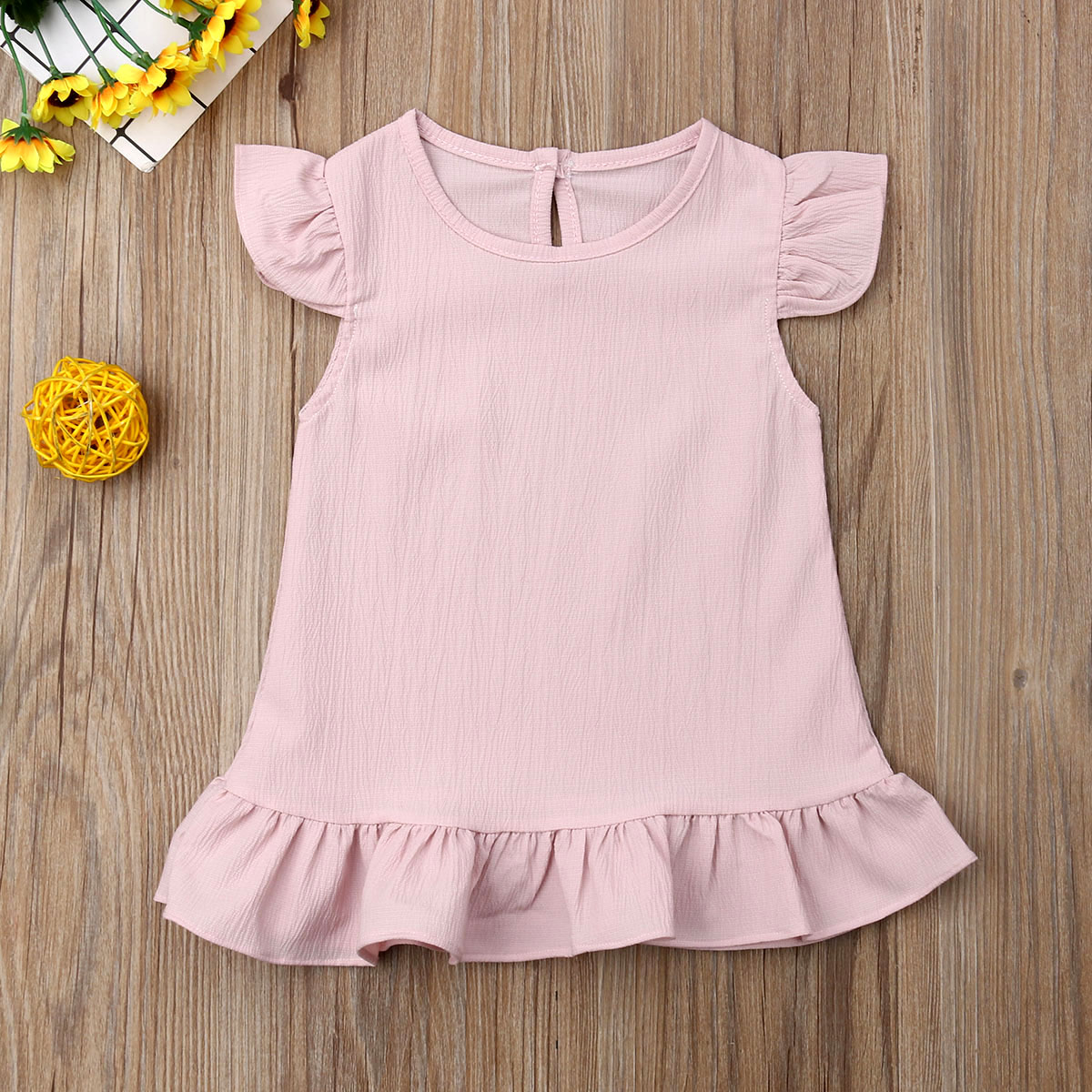 2-6Years Baby Summer Clothing Infant Kid Baby Girl Solid Dress Solid Princess Gown Fly Sleeve Ruffle Party Chiffon Dresses