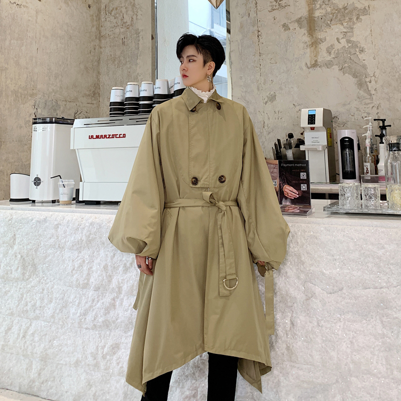 Men Vintage Chic Puff Sleeve Loose Casual Long Trench Coat Male Women Streetwear Hip Hop Irregular Windbreaker Jacket Overcoat