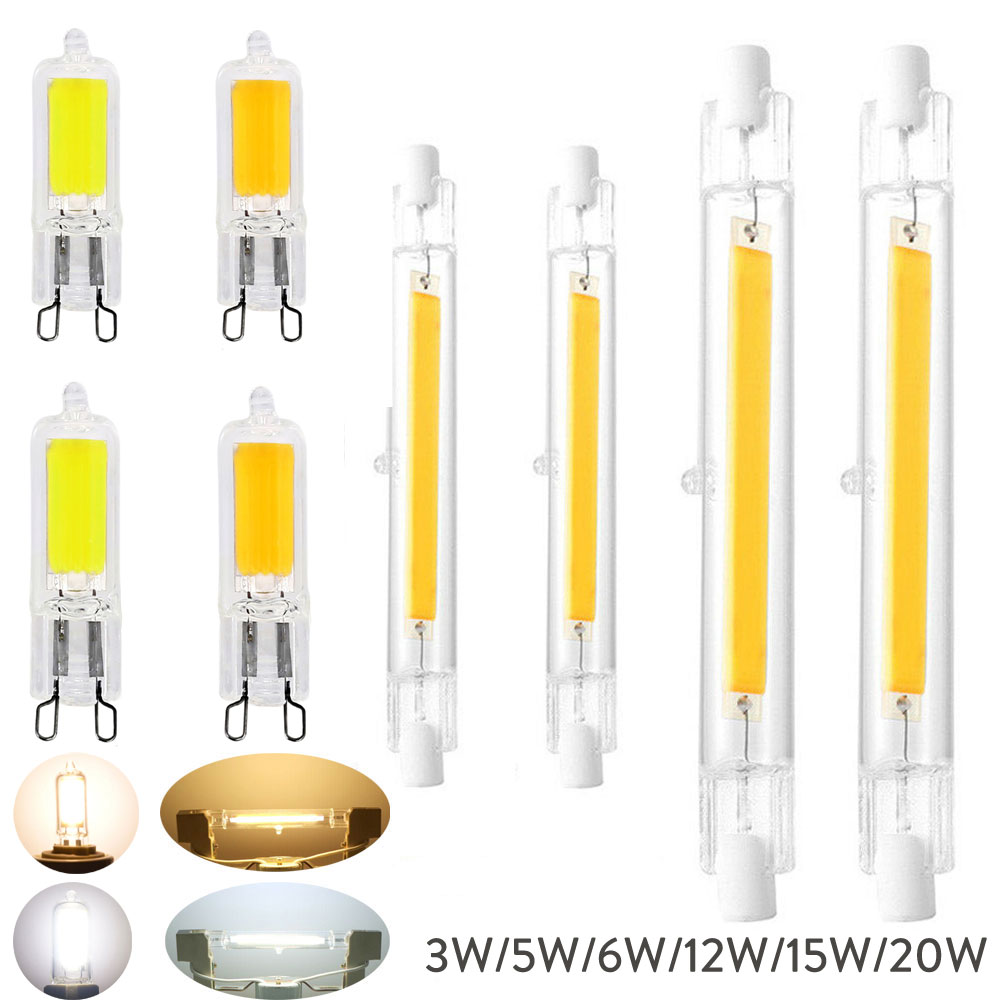 R7S 78mm 118mm COB Glass Tube LED Ceramics 3W 5W 7W 12W 15W 20W Replace Halogen Lamp Powerful Led Spot Light Bulb