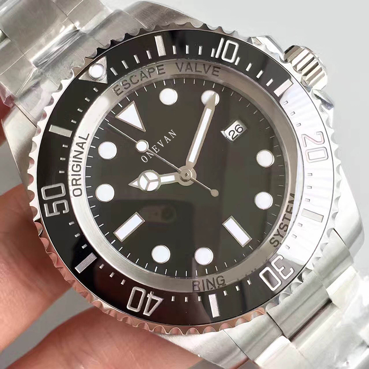Top Black 44mm <font><b>Deep</b></font> Ceramic Bezel <font><b>SEA</b></font> Date Sapphire cystal Stainless Steel With Glide Lock Clasp Automatic Mechanical men <font><b>Watch</b></font> image