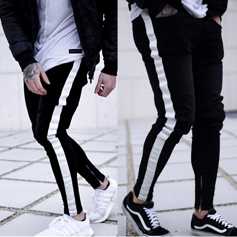 2019 Men's Harem Jeans Washed Feet Shinny Denim Black Pant Hip Hop Sportswear Elastic Waist Joggers Pants Side Stripe Jeans
