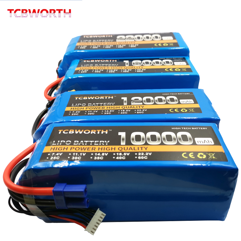 RC LiPo Battery 22.2V 10000mAh 25C 6S RC Li-Poly Batteries For RC Models Airplane Car Boat Drone Tank Helicopter AKKU TCBWORTH image