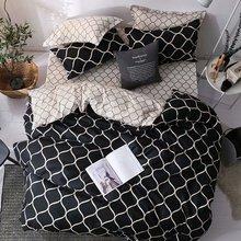 Microfiber Black Geometric Printing Bedding Set Skin-friendly Duvet Cover Pillowcase Set AB Side Kids Bedding