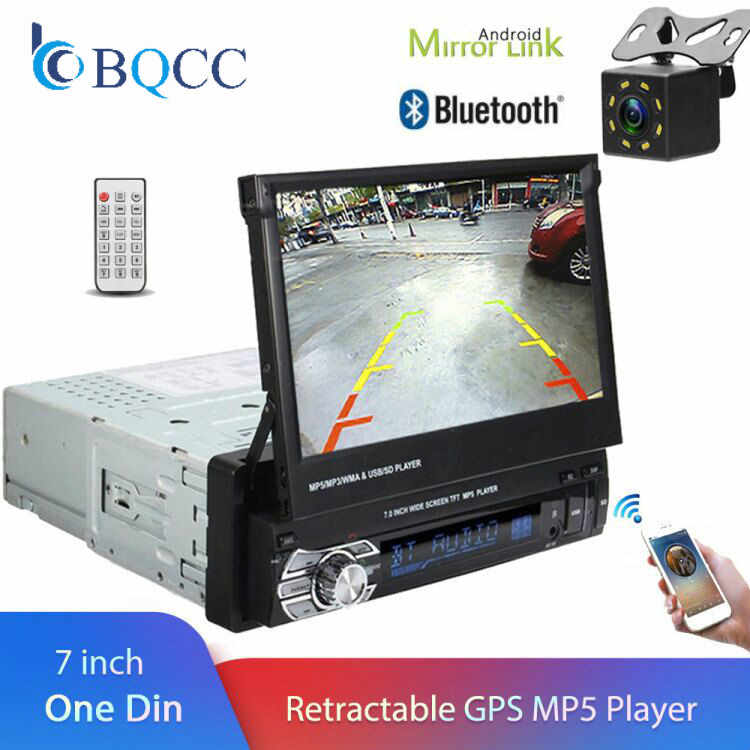 "1 Din 7"" Universal Car Radio GPS Navigation Autoradio Video Player Bluetooth Retractable Touch Screen MP5 Stereo Audio"