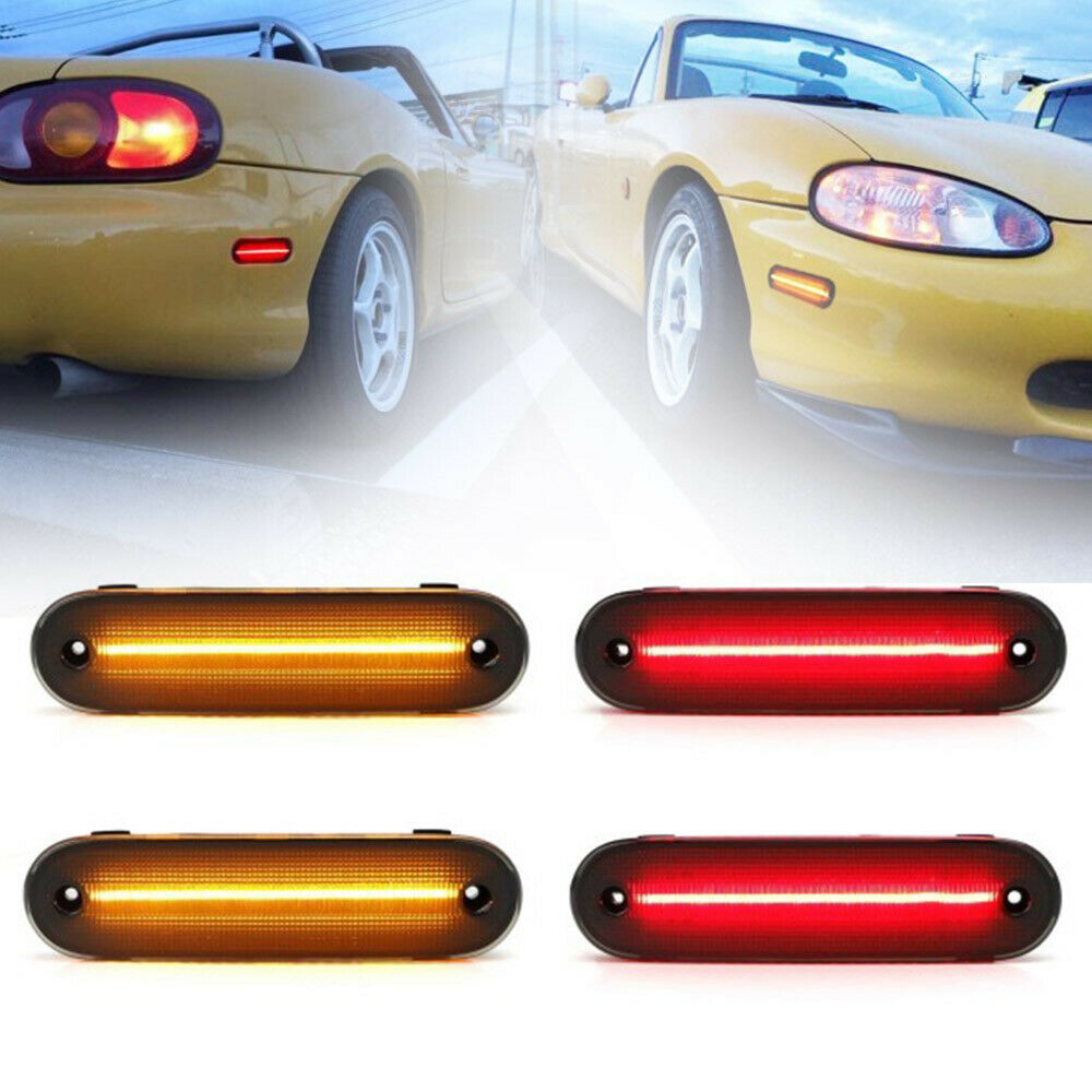 Smoked Front Rear <font><b>LED</b></font> Side Marker Light Signal Lamp For 90-97 99-05 Miata Mx-5 NA NB Amber&Red Driver Corner/Park Lamp 4pcs image