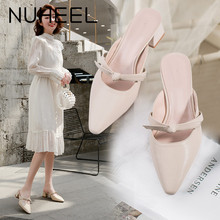 NUHEEL women's shoes summer Korean version of the bow thick with Baotou fairy style wild single shoes women