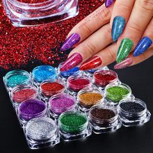 1Box Laser Holographic Nail Glitter Powder Shining Pigment Dust Gel Polish Flakes Shimmer Art Decoration BEL01-16-1