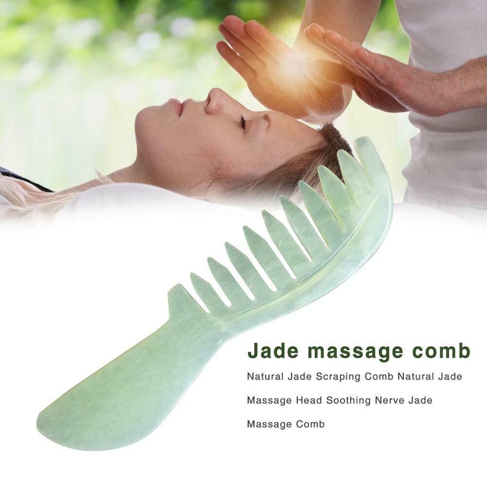Массажная расческа из натурального нефрита, Нефритовая Расческа для массажа, расслабляющая Массажная головка, спа инструмент для ухода за здоровьем