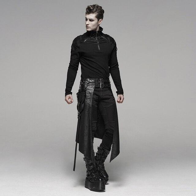 PUNK RAVE Men's Punk Men's Half Skirt Dark Cracked Metal Nail Removable Pocket Personality Long Skirts 4