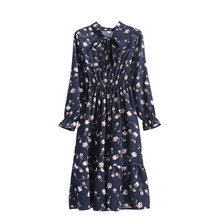 купить Winter Autumn Shirt Dresses Fashion Women's Chiffon Dress Office Work Long Sleeve Vintage Dress Casual Midi Slim Floral Dress дешево