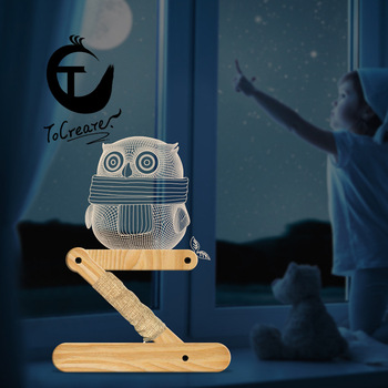 New Wood Folding Nightlight Creative Owl Knave Stack New Paragraph 3D ya ke li deng Fairy Lights цена 2017