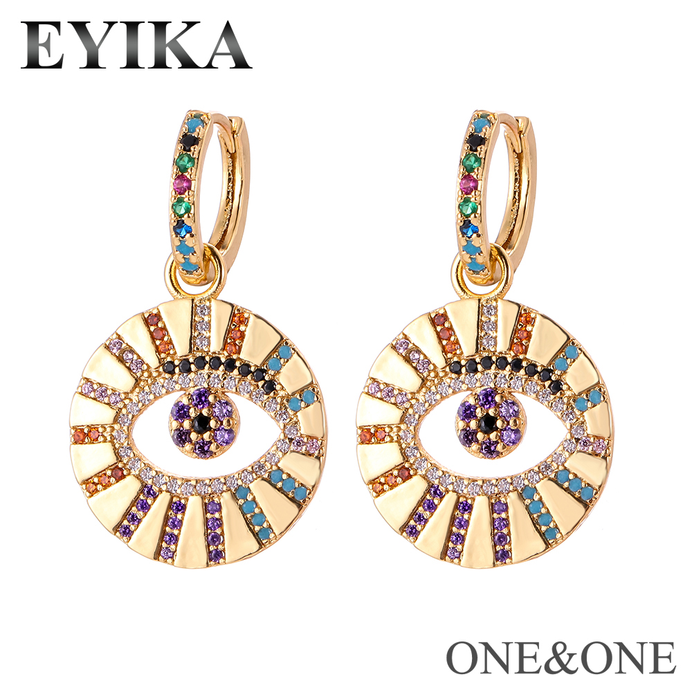EYIKA Colorful Hoop Earrings Multicolor Zircon Women Rainbow Jewelry Vintage Design Round Shape Brass Shining Evil Eye Earrings