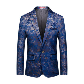 Loldeal Mens Fashion White Floral Printed Suit Jacket Slim Fit Sport Coat Blazers