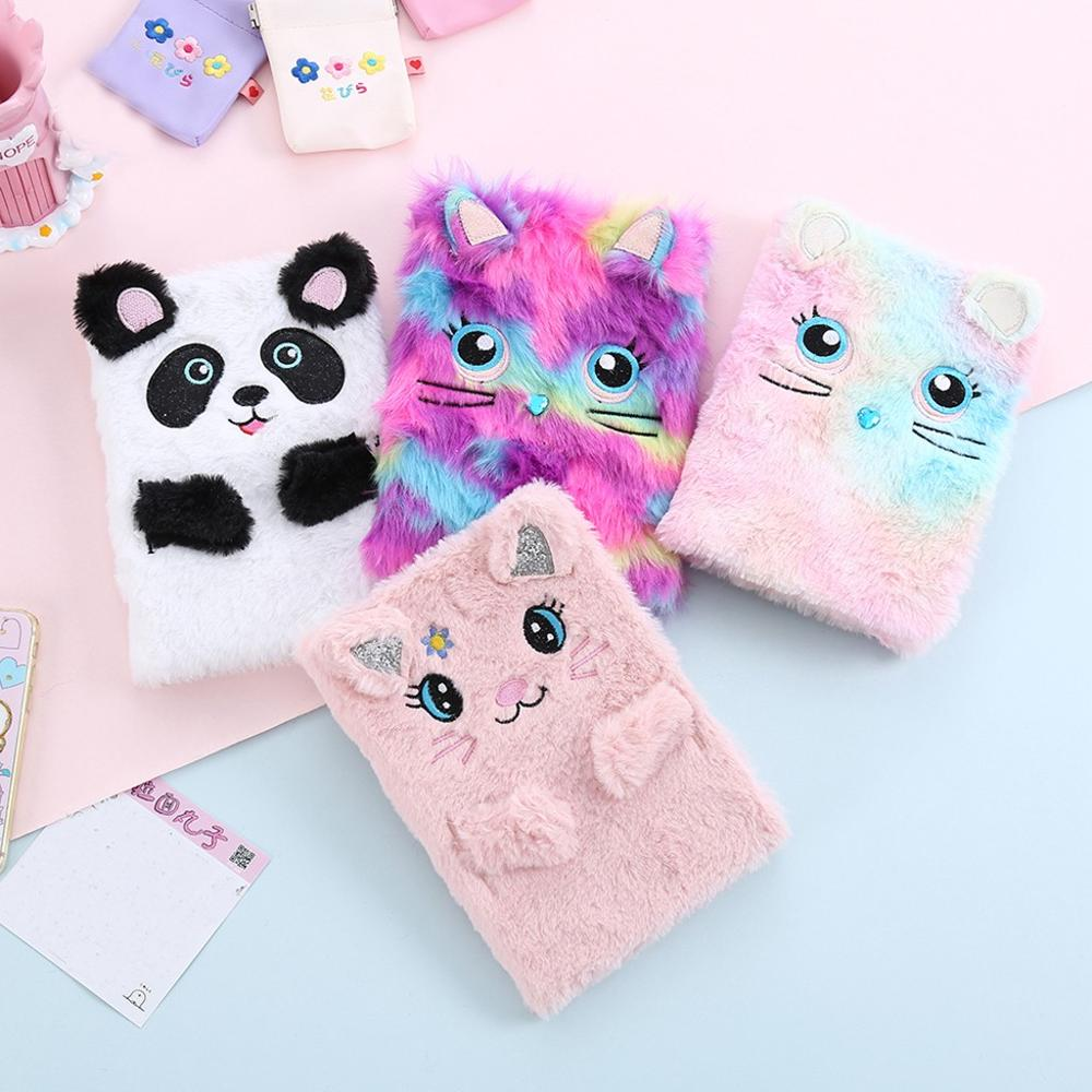 Plush Cartoon Cute Diary Book Notebook Notepad Paper Planner Agenda Book Time Management School Supplies Stationery Gift