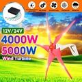 4000 W/5000 Вт ветрогенератор 5 ветра лопатки генератор 12/24V горизонтальный ветряной турбины для бытовой фонарь + контроллер заряда