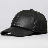 XdanqinX Men's Genuine Leather Hat Baseball Cap New Simple Fashion Sheepskin Leather Brand Caps Bone Dad's Flat Cap Snapback Cap