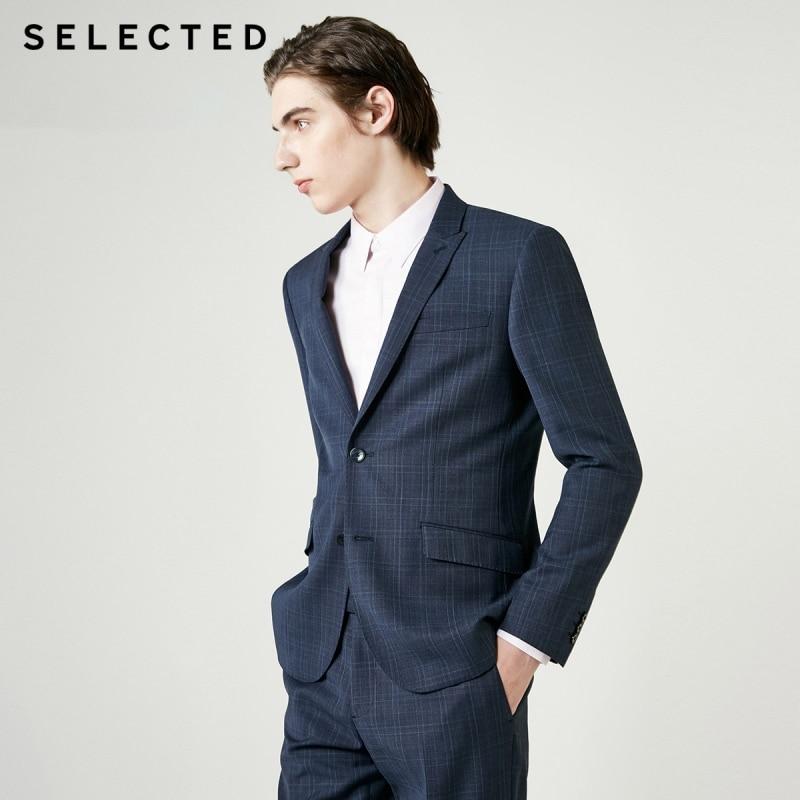 SELECTED Men's Slim Fit Wool Blazer Woolen Plaid  Jacket T 41915Y503