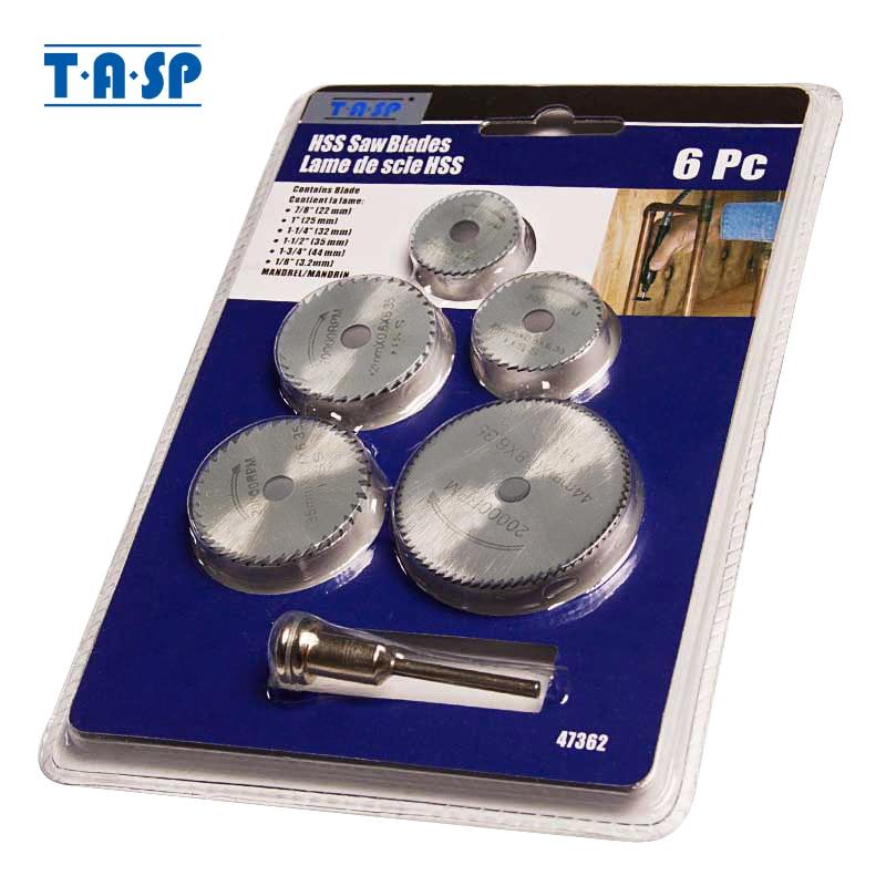 TASP 6db-os mini körfűrészlap-készlet HSS vágókorong forgószerszám-kiegészítők, amelyek kompatibilisek a Dremel-rel - fa műanyag alumínium