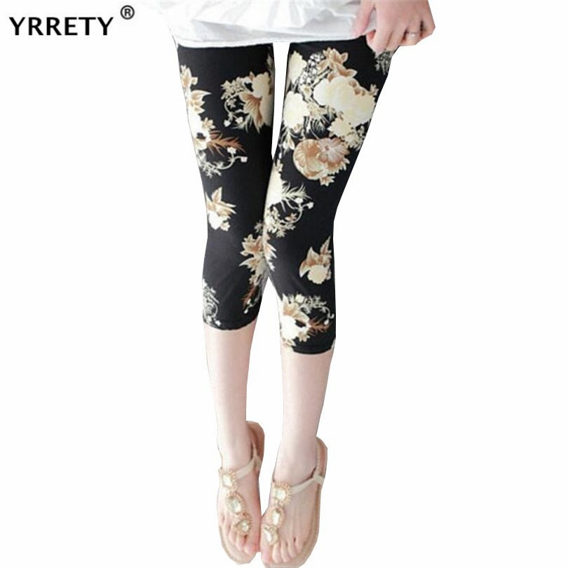 YRRETY Women Calf-Length Print Pants Capris High Waist Sexy Leggings Pantalones Soft Summer