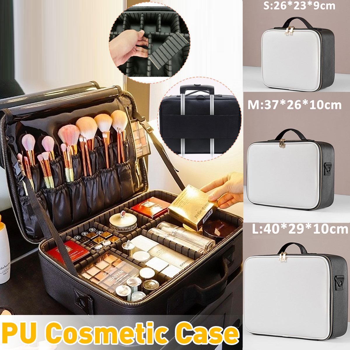 Upgrade Cosmetic Bag Makeup Organizer PU Waterproof Cosmetic Case Women Travel Large Capacity Storage Bag Suitcases Gifts