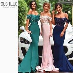 Топ с блёстками атласное платье подружки невесты в стиле русалки оптовая продажа с открытыми плечами летние пригласительные на свадьбу