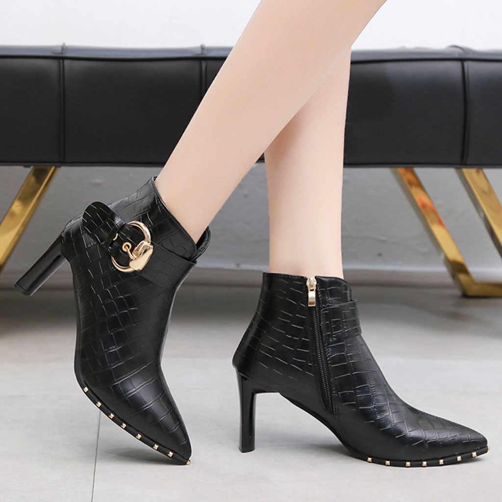 Mùa Thu Cổ Chân Giày Bốt Nữ Cao Gót Giày Ống Ngắn Boot Da Dây Kéo Đồng Màu Mũi Nhọn Giày Nữ Giày Nữ Femme t3