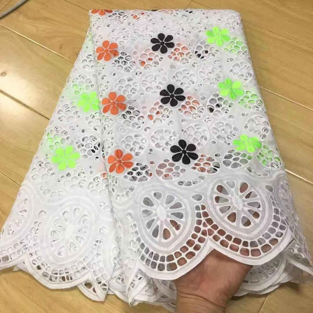 Latest African Cotton Lace Fabric 2019 High Quality Nigerian French Pure Cotton Embroidery Swiss voile Lace