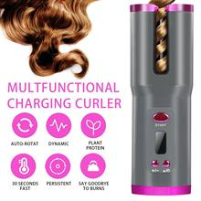 Hair-Curler Curling Ceramic Cordless Automatic USB for Lcd-Display Rechargeable