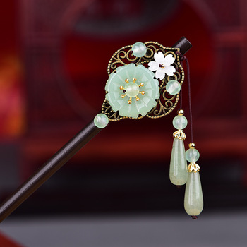 Jade Stone Hair Sticks Hairpin Charm Jadeite Jewelry Carved Amulet Fashion Accessories Natural Chinese Gifts for Women Her