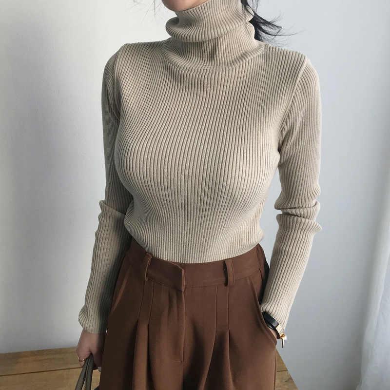 슬림 소프트 스웨터 여성 겨울 2019 가을 터틀넥 스웨터 니트 두꺼운 풀오버 특대 femme 점퍼 숙녀 검은 스웨터