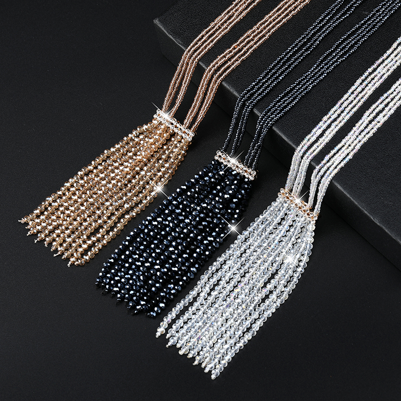 Korean Shiny Crystal Beads Necklace Women Elegant Joker Tassel Sweater Chain Fashion Lady Neck Accessories
